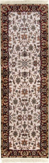 "Hand Made India Agra 2'6"" x 8' Ivory"