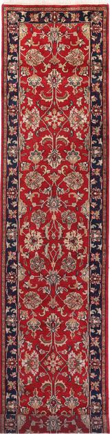 "Hand Made India Agra 2'7"" x 11'9"" Red"
