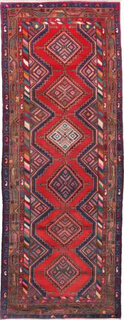 "Hand Made Iran Hamadan 3'5"" x 9'3"" Red"