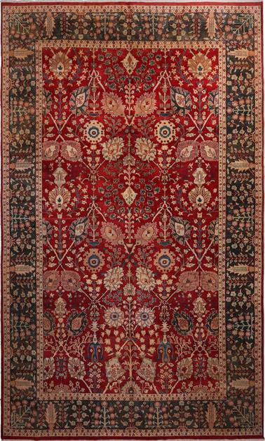 "Hand Made India Mahal 12' x 19'10"" Red DK"