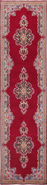 """Hand Knotted Iran Kerman 3'4"""" x 13' Red"""