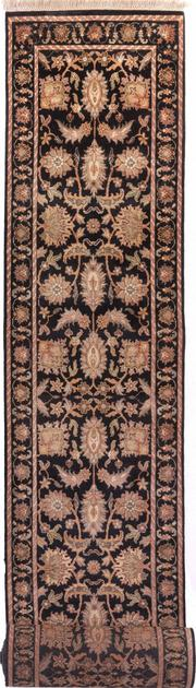 "Hand Made India Agra 2'6"" x 19'2"" Black"