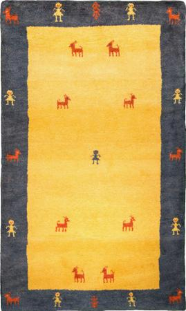 """Hand Knotted Iran Gabbeh 2'11"""" x 4'10"""" Yellow Rug"""