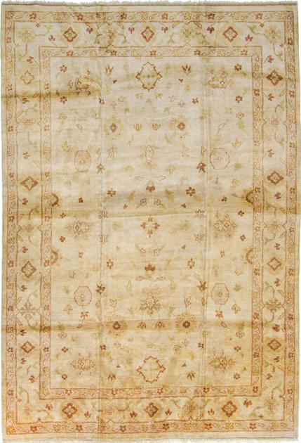 "Hand Made India Oushak 9'6"" x 13'9"" Beige"