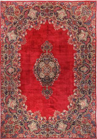 """Hand Knotted Iran Kerman 11' x 15'6"""" Red DK"""