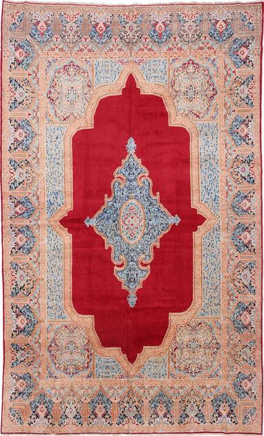 "Hand Hooked Iran Kerman 10' x 15'2"" Red"