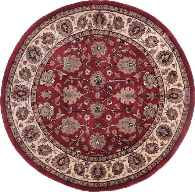 """Hand Made India Mahal 4'9"""" x 4'9"""" Red"""