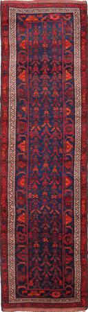 "Hand Knotted Iran Malayer 3'8"" x 12'9"" Blue DK"