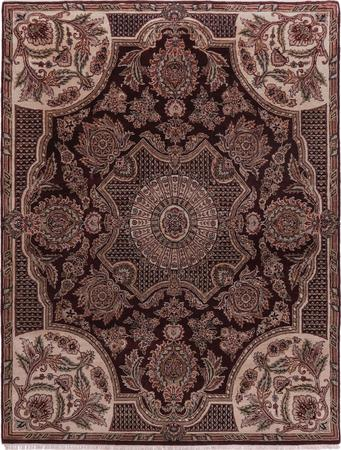"""Hand Made India Aubusson 7'9"""" x 10' Red DK Rug"""