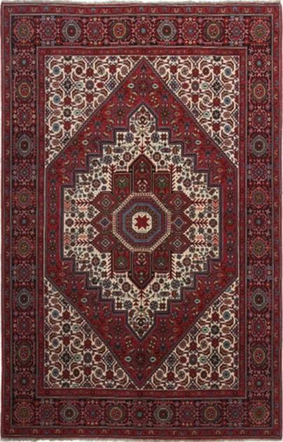 """Hand Knotted Iran Bidjar 4'4"""" x 6'7"""" Red"""