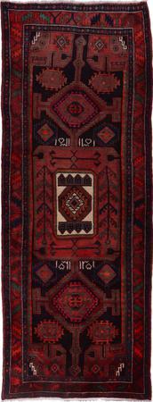 Hand Knotted Iran Hamadan 4' x 10' Red LT