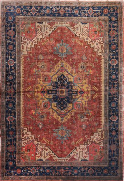 "Hand Made India Heriz 12'2"" x 18'2"" Orange"