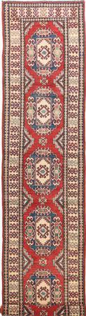"Hand Made Pakistan Kazak 2'8"" x 12'6"" Red Rug"