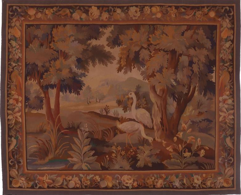 "Hand Made France Aubusson 4'4"" x 5'6"" Beige"