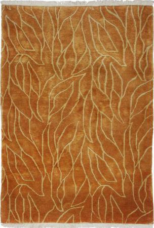 "Hand Made India Contemporary 3'5"" x 4'10"" Orange DK"