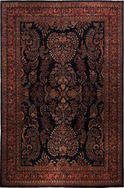 "Hand Made India Agra 11'9"" x 17'9"" Black"