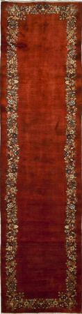 "Hand Knotted Iran Kerman 3'5"" x 13'5"" Orange DK"