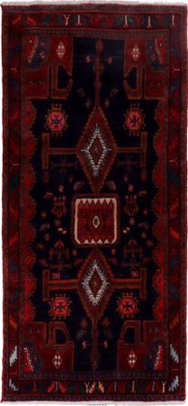 "Hand Knotted Iran Hamadan 4'3"" x 9'3"" Blue DK Rug"
