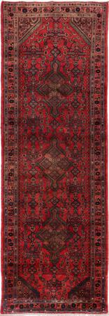 """Hand Knotted Iran Hamadan 3'8"""" x 10'8"""" Red DK Rug"""