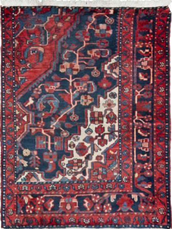 "Hand Knotted Iran Hamadan 3' x 3'9"" Blue DK Rug"