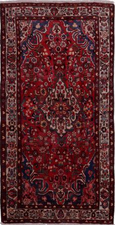 "Hand Knotted Iran Hamadan 4'5"" x 8'11"" Red Rug"