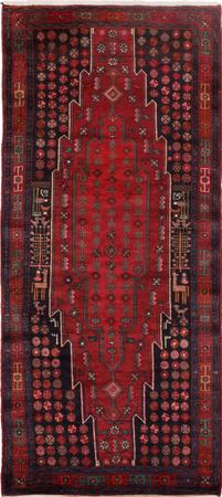 Hand Knotted Iran Shahsevan 4' x 9' Red Rug