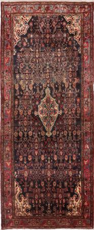 Hand Knotted Iran Hamadan 4' x 10' Black Rug
