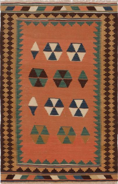 "Hand Knotted Iran Kilim 3'3"" x 4'7"" Yellow DK"