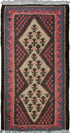 "Hand Knotted Iran Kilim 1'5"" x 2'7"" Ivory Rug"