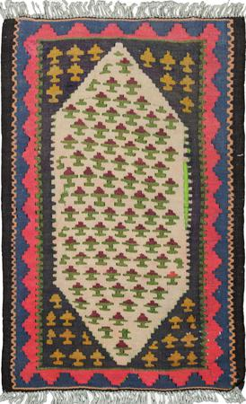 "Hand Knotted Iran Kilim 1'6"" x 2'6"" Ivory Rug"