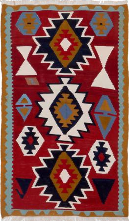 """Hand Knotted Iran Kilim 3'3"""" x 5'3"""" Red Rug"""