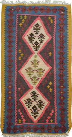 "Hand Knotted Iran Kilim 1'8"" x 2'8"" Ivory Rug"
