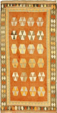 "Hand Knotted Iran Kilim 4'6"" x 8'6"" Orange LT Rug"