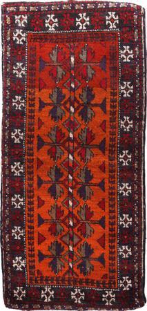 """Hand Made Iran Belouch 1'5"""" x 3' Orange"""