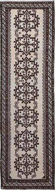 """Hand Knotted Iran Belouch 3'4"""" x 11'9"""" White"""