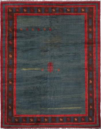 "Hand Knotted Iran Gabbeh 10'9"" x 13'9"" Blue LT Rug"