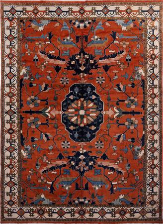 "Hand Knotted Iran Meshkin 11'6"" x 15'6"" Orange DK Rug"