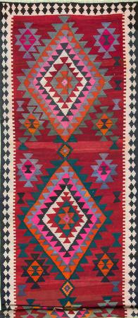 "Hand Knotted Iran Kilim 5'7"" x 17'4"" Red Rug"