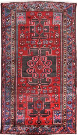 Hand Knotted Iran Hamadan 4' x 7' Red Rug
