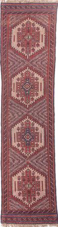 """Hand Made Afghanistan Belouch 2'3"""" x 8'7"""" Red DK Rug"""