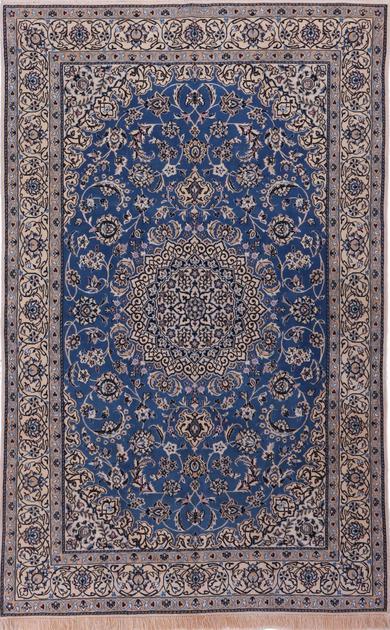 Hand Knotted Iran Nain 5' x 8' Blue