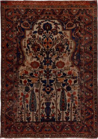 "Hand Knotted Iran Bakhtiari 4'5"" x 6'3"" Ivory"