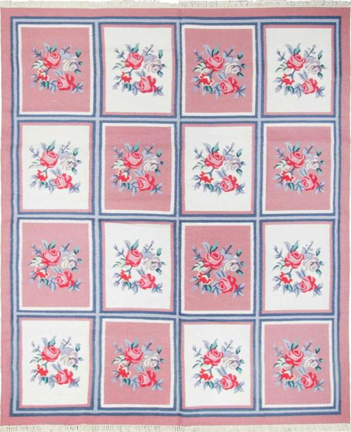 Flat Weave India Dhurrie 8' x 10' Pink