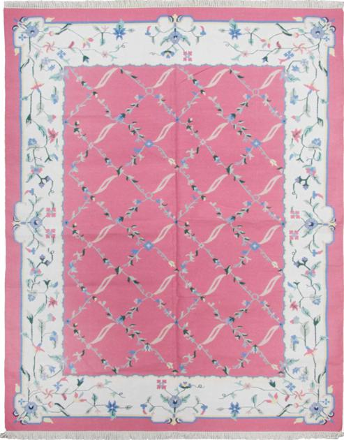 Flat Weave India Dhurrie 9' x 12' Pink