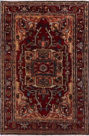Hand Made India Serapi 4' x 6' Red Rug