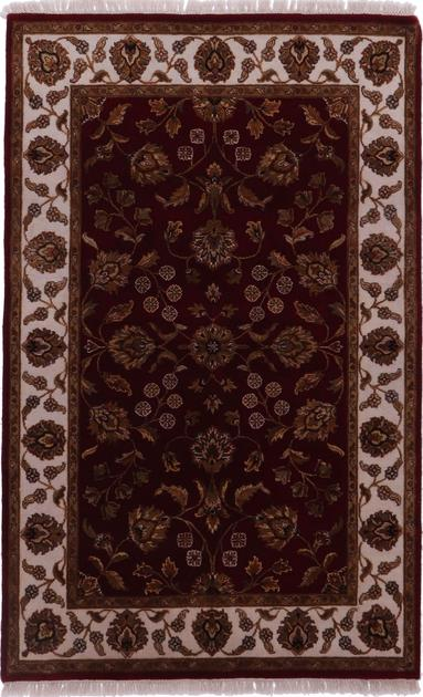"Hand Knotted India Mahal 4'2"" x 6' Purple LT"