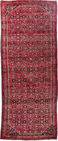 "Hand Knotted Iran Hamadan 3'8"" x 9' Red Rug"