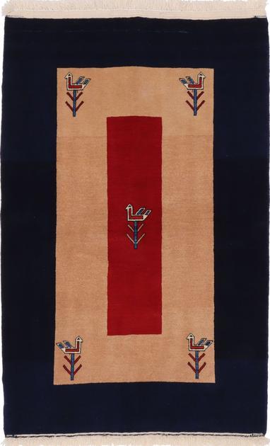 "Hand Made Iran Bakhtiari-Gabbeh 3'7"" x 5'4"" Tan"