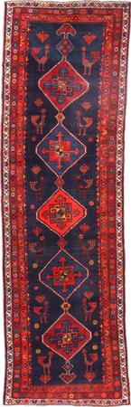 """Hand Knotted Iran Malayer 3'6"""" x 11'6"""" Blue Rug"""