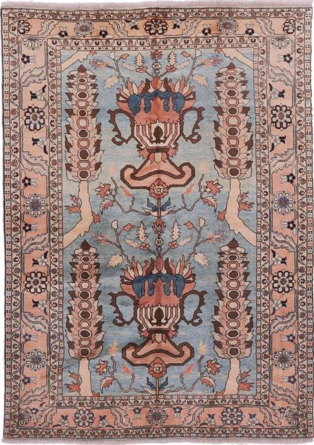 "Hand Made Iran Heriz 6'5"" x 9'5"" Blue"